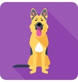 dog German shepherd sitting icon flat design vector image