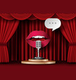 lips are talking to the microphone vector image