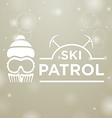 logotype ski patrol on gray snow background vector image