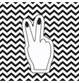 victory hand sign icon rear view sticker on pop vector image