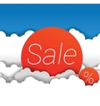 sale sign in clouds vector image vector image