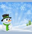 christmas snowman scene vector image vector image
