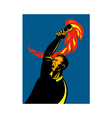 worker with flaming torch vector image