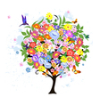 Flower abstract tree with birds vector image vector image