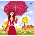 Autumn girl3 vector image