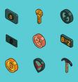 blockchain flat outline isometric icons vector image