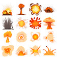 explosion effect icons set cartoon style vector image