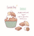 hand drawn cupcake milk chocolate flavor vector image