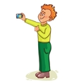 Little cartoon man makes photo of himself vector image