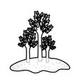 trees set in grassland in black silhouette with vector image