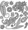Set of hand draw ornate black flower design vector image vector image