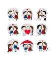 Couple in love kissing valentine sketch for your vector image