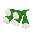 Thai Banana Pudding in Counts Banana Leaf vector image