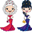 beautiful fashion girls in party dresses vector image