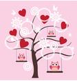 Tree heart owl vector image