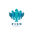 Fish logo Several vertical shapes with overlay vector image