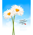 Two daisies with heart shaped middles Valentines vector image vector image