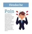 Concept headache in a person with information vector image