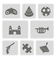 set of monochrome icons with toys vector image