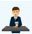 Speaker stands behind a podium with microphones vector image