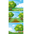 Three scenes of countryside with trees and tracks vector image