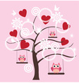 tree heart owl vector image