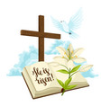 wooden cross with bible lily and dove happy vector image