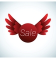 sale sign with red wings vector image