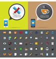 Smartphone alert and flat icons collection vector image