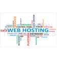 word cloud web hosting vector image vector image
