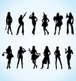 Women in Uniform Silhouettes vector image