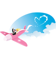 Newlyweds on airplane vector image vector image