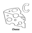 alphabet letter c coloring page cheese vector image