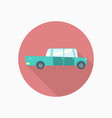 blue car flat icon with long shadow vector image