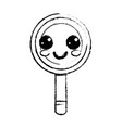 figure kawaii cute happy magnifying glass vector image
