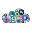icons arranged in cloud shape technology concept vector image