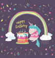 little unicorn celebrates birthday with a vector image
