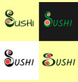 modern flat logo for sushi set roll japanise vector image