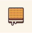 square biscuit line art icon vector image