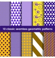 yellow-lilac classic seamless geometric patterns vector image