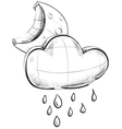 Cloud with rain and moon weather icon vector image vector image