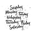 Sunday Monday Tuesday Wednesday Thursday vector image