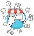 Shopping via internet connection vector image