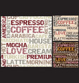 coffee words pattern vector image