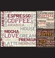 coffee words pattern vector image