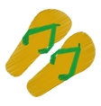 drawing green and yellow flip flop brasilian vector image