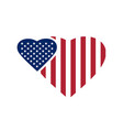 two hearts painted in the colors of the us flag vector image