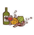 wine glass bottle grape vine and cheese vector image