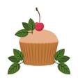 cupcake decorated with cherry and leaves vector image