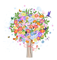 Flower decorative tree with birds vector image